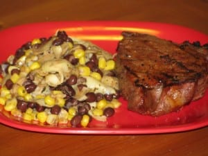 BBQ Steak with Balsamic Veggie and Bean Salad