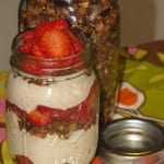 Easy Strawberry Yogurt with Chocolate Granola Topping
